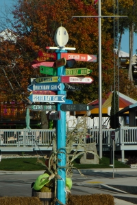 Egg Harbor's signature Milepost.